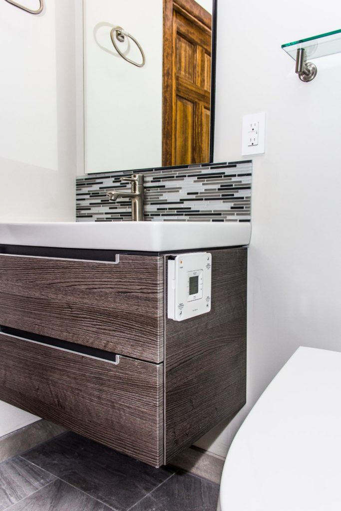 Floated wood panel vanity