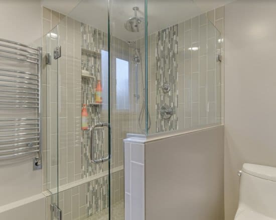 new bathroom shower with glass walls